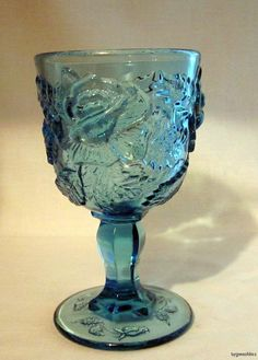 L G Wright Wildrose Water Goblet 12 oz Blue Beautiful Glass