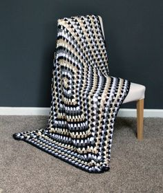Granny Square Throw Blanket Afghan Modern Crochet by AllieBlankets