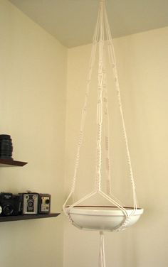 Handmade Macrame Plant Hanger / Bowl Hanger - Knotted Cotton Rope with Wrappped…
