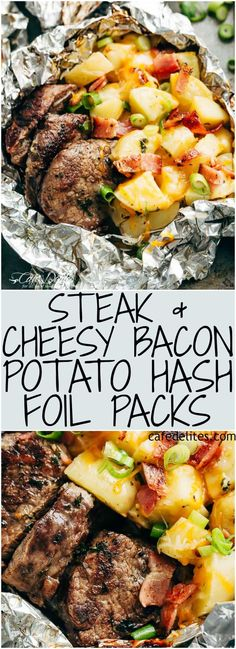 Steak & Cheesy Bacon Potato Hash Foil Packs can be cooked on the grill, stove to. - Steak & Cheesy Bacon Potato Hash Foil Packs can be cooked on the grill, stove top OR oven! Steak Foil Packets, Foil Packet Dinners, Foil Pack Meals, Camping Foil Dinners, Hobo Packets, Bacon Hash, Bacon Potato, Bacon Food, Bacon Meals
