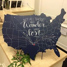 Wooden Wedding United States Map Sign Not All Those Who Wander are Lost FREE SHIPPING by FabulousFancyPants on Etsy https://www.etsy.com/listing/220133452/wooden-wedding-united-states-map-sign