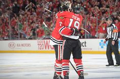 Jonathan Toews and Brent Seabrook. #Hugs #Playoffs