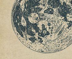 La Luna - Vintage Map of the Moon