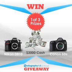 Nikon D810 DSLR or Canon 5Ds Giveaway  #Giveaway via #AuhYes - Hurry & Enter