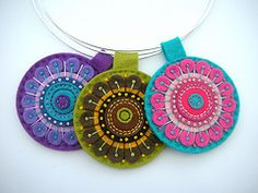 .necklace felt pedant - the green one, in particular -- great colors and contrasts