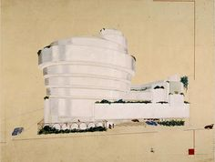 Early #design of Frank L. Wright #Guggenheim #museum in #NYC - Spiral on the left side
