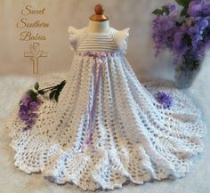 Baptism Dress  Snow White with Lavender by SweetSouthernBabies
