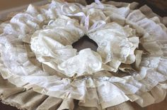 do it yourself divas: DIY: Burlap and Lace Christmas Tree Skirt This is a great project even for a table centerpiece ..make to size that fits - your table, vase, bowl, chair back or chair legs - for frufru legs on dining chairs at special occasions .. if a theme occasion use colors of theme, place around bowl, floral  or it bowl, vase, planter, ect in center