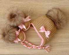 Baby girl fur hat and booties with bows – Brown and pink – Newborn Girl clothes – Baby winter clothes – Baby girl gift- Preemie girl clothes by HandmadebyInese on Etsy Winter Baby Clothes, Winter Outfits For Girls, Winter Newborn, Baby Winter, Newborn Girl Outfits, Baby Girl Newborn, Baby Baby, Baby Girl Boots, Fur Pom Pom Hat