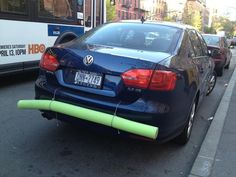 You can make a last minute bumper for your car with a pool noodle.