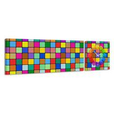 Zegar - obraz 4MyArt Colores Cubed 158 x 46 ◾ ◾ PrezentBox