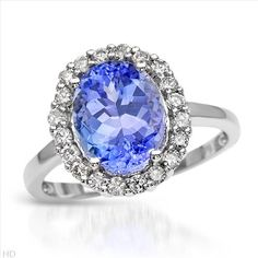 $1,089.00  Terrific Brand New Ring With 3.90ctw Precious Stones - Genuine  Clean Diamonds and Tanzanite  14K White Gold- Size 7 We Can Resize from 5.5 to 8.5 - Certificate Available.