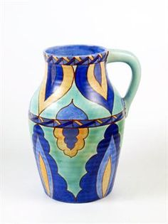 A Clarice Cliff Bizarre `Persian` Lotus Jug, printed marks, inscribed `Persian`, faint moulded shape mark, 29.5cm