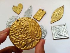 Super Easy Embossed Pendants! with glue