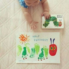 THE VERY HUNGRY CATERPILLAR FOOTPRINT ART....this is so adorable! What do you think?