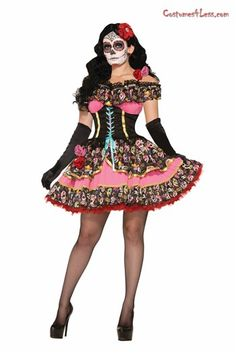 #Promotion Celebrate the Day of the Dead or Halloween in a unique style with this Day Of Dead Senorita Costume! The Mexican style costume includes a mini dress adorned with a black lace veil across the bodice, sugar skull design on bodice and waist with pink over bosom, matching pink on skirt and red lace on hem of skirt.