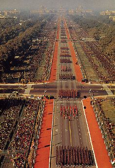 Republic Day Parade from above.  Late January every year.