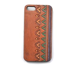 Leather Phone Case, Boho Phone, Indie Fashion Accessories, Stamped Leather Phone Accessories, Tri Color Aztec Case for Iphone 5 (IP53BN006)
