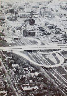 Downtown Grand Rapids during urban renewal in the late '60s...the three darker buildings left standing near the middle of the photo are the old Fox Brewing Bldg, City Hall and the Courthouse. http://on.fb.me/HHV3lJ