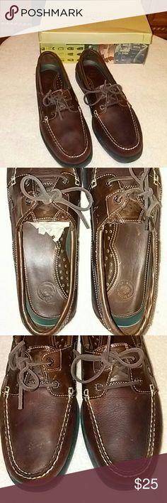 NIB BASS DARK BROWN LEATHER BOAT SHOES 14M NIB 14M BASS DARK BROWN BOAT SHOES LEATHER Bass  Shoes Boat Shoes
