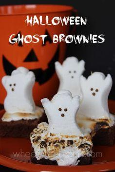Halloween Ghost Brownies #Halloween #HappyHalloween #TrickOrTreat @HalloweenSpooks