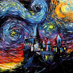 Harry Potter Art - Hogwarts Castle Starry Night print van Gogh Never Saw…