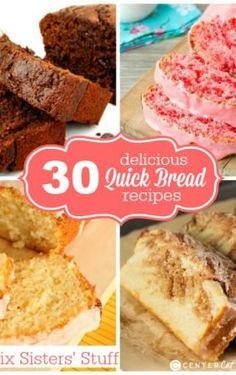 30 Delicious Quick Bread Recipes on Six Sisters Stuff. Dump Cake Recipes, Quick Bread Recipes, Easy Bread, Dessert Recipes, Yummy Snacks, Delicious Desserts, Blueberry Quick Bread, Sugar Cookie Bars, Dessert Bread
