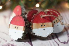 Santa Christmas Ornament Set Hand Painted Christmas