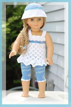 "18"" Doll Ocean Breeze Crochet Pattern Download ~ intermediate level ~ for the beach or shopping she will look in style ~ CROCHET"