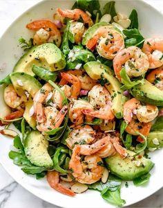Shrimp Avocado Salad, Avocado Salad Recipes, Salad Recipes For Dinner, Dinner Salads, Easy Salads, Healthy Salad Recipes, Diet Recipes, Cooking Recipes, Cooking Food