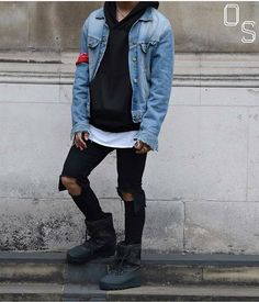 #OutfitSociety Presents @aripetrou bringing out the boots: Denim jacket - Lee Jeans Hoodie - Black Moniker Jeans - ASOS Kicks - Yeezy 950 Boots