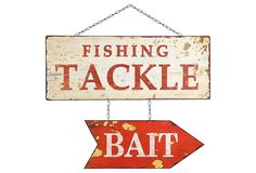 Fishing Tackle Bait Sign on One Kings Lane today