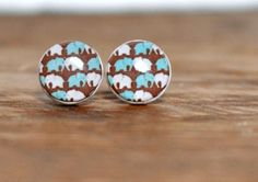Elephant Stud Earrings, Polymer Clay Post Earrings, Resin Earrings, Blue Stud Earrings $9.90