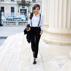 Черно-белое, подтяжки, брюки, рубашка