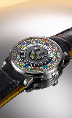 A Holiday gift for the one that needs to know it all. The Louis Vuitton Escale Time Zone watch shows every time for every time zone in the world. Swiss made with sapphire glass and a water resistant seal, what man wouldn't want the world on his wrist. Stylish Watches, Luxury Watches For Men, Cool Watches, Wrist Watches, Omega, Louis Vuitton Watches, Dream Watches, Hand Watch, Rolex