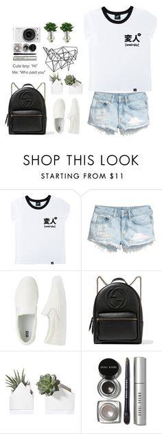 """""""Weirdo..."""" by naomitrimble ❤ liked on Polyvore featuring Illustrated People, H&M, Uniqlo, Gucci, Bobbi Brown Cosmetics, Color Me and Nikon"""