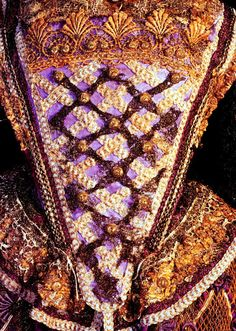 detail of the elaborate bodice of the Twins dresses in Gormenghast. Designer: Odile Dicks-Mireaux