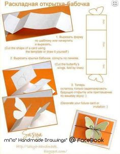 "Képtalálat a következőre: ""diy butterfly"" Diy Butterfly, Butterfly Cards, Butterfly Wedding, Butterfly Template, Origami, Borboleta Diy, Diy Paper, Paper Crafts, Pop Up Cards"