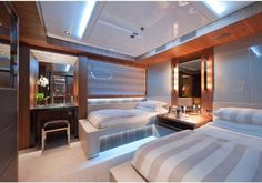 A twin room aboard luxury yacht South - Fraser Yachts