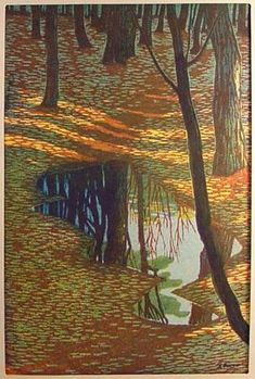 In the Woods by Shiro Kasamatsu .Woodcut