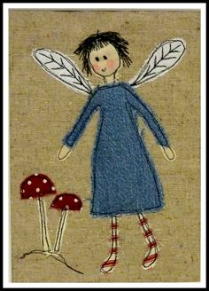 pixels applique fairy and toadstool picture design for cards , clothes cushions , book covers etc. grimm and fairy make Freehand Machine Embroidery, Free Motion Embroidery, Machine Embroidery Applique, Applique Quilts, Embroidery Art, Embroidery Stitches, Fabric Cards, Fabric Postcards, Thread Art