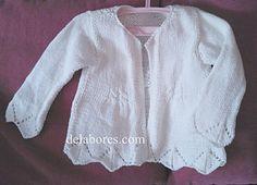 Diamon Detail Edge 3/4 Sleeve Cardigan - free pattern (spanish) - Easy - 7 Needle - White Angora 30/Cotton 50/Wool 20