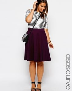 ASOS CURVE Exclusive Circular Skirt In Ponte plus size. This whole outfit is do die for.
