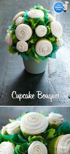 We love these cupcake bouquets! This standout centerpiece can instantly turn any occasion into an elegant affair. Perfect for Bridal Showers, Baby Showers or party!
