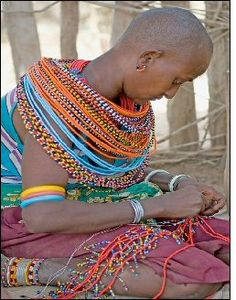 Saw this in October's InStyle mag.  Traditional tribal jewelry crafted by a women-only village in Kenya.  Great cause!