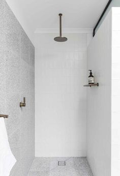 A tweaked floor plan, new storage and a monochrome redux turned this Sydney terrace into a spacious, serene home loved by the couple who live here. Terrazzo Tile, Tiling, Bathroom Renos, Bathroom Ideas, Classic House, Bathroom Interior Design, Bathroom Inspiration, Modern Bathroom, Beautiful Bathrooms