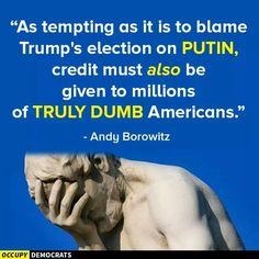 As tempting as it is to blame Trump;s election on Putin, credit must also be giving to millions of truly dumb Americans. Dumb Americans, Political Views, Political Quotes, Thought Provoking, That Way, Dumb And Dumber, In This World, Just In Case, Quotations
