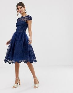 Buy Chi Chi London premium lace midi dress with cap sleeve in navy at ASOS. Get the latest trends with ASOS now. Mom Dress, Dream Dress, Dress Up, Asos, Trendy Dresses, Short Dresses, Modest Fashion, Fashion Dresses, Mode Simple