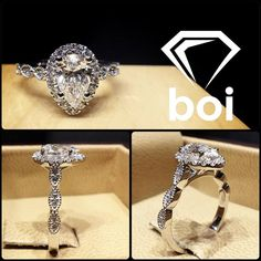 This design was made with an excellent cut diamond. The diamond was placed in a tight Italian pave halo. The vintage shank features stations of marquise shapes with diamonds in each station. #diamond #diamonds #wedding #weddings #engagement #ring #rings #bride #brides #jewellery #jewelry #pear #halo #diamondboi