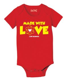 Look what I found on #zulily! Red 'Made With Love and Science' Bodysuit - Infant by Geek Garb #zulilyfinds